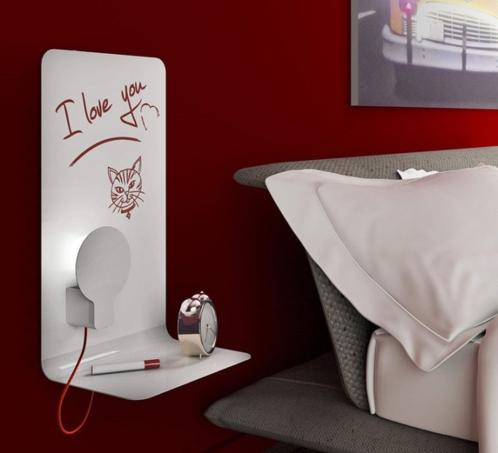 APPLIQUE MURALE, SKETCH, BLANC, FIL ROUGE, H61CM, L40CM - LED, 4000K, 550LM – ZAVA