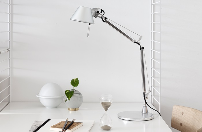 LAMPE À POSER, TOLOMEO TABLE, LED, ALUMINIUM, DIMMABLE, H129CM, L122CM – ARTEMIDE