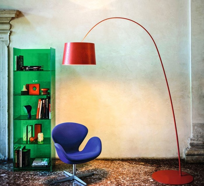 LAMPADAIRE, TWIGGY, ROUGE, DIMMABLE, L60CM, H195CM - FOSCARINI