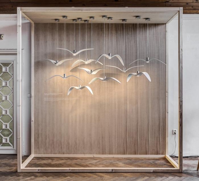SUSPENSION, NIGHT BIRDS, BLANC ET ARGENT, LED, Ø59 CM, H17 CM – BROKIS