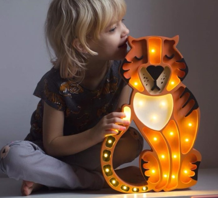 LAMPE À POSER ENFANT TIGRE, TIGER, ORANGE, L37CM, H29CM - LITTLE LIGHTS