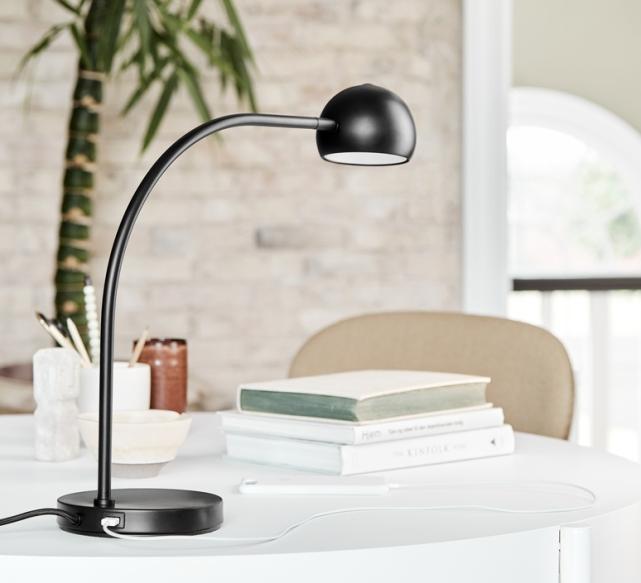 LAMPE À POSER, BALL USB, NOIR MAT, LED, 3000K, L16CM, H45,5CM - FRANDSEN
