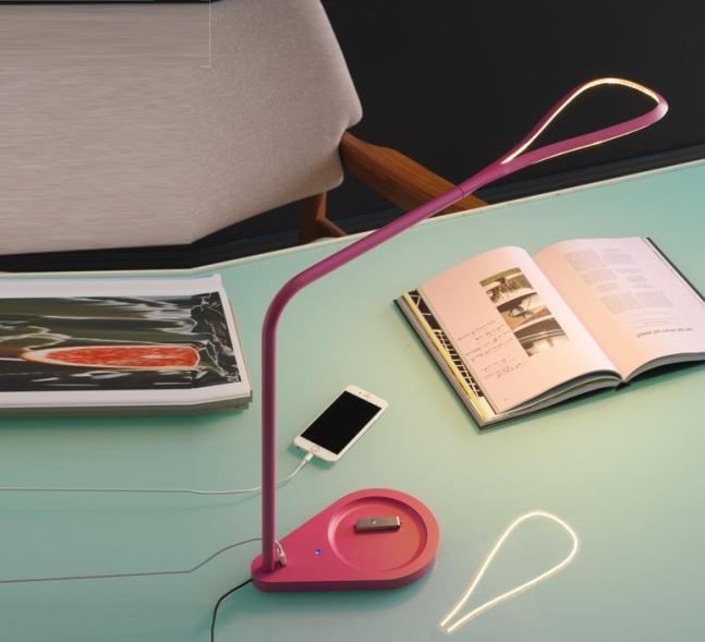 LAMPE DE BUREAU, KINX, LED, PORT USB, ROSE, H43CM - FONTANA ARTE